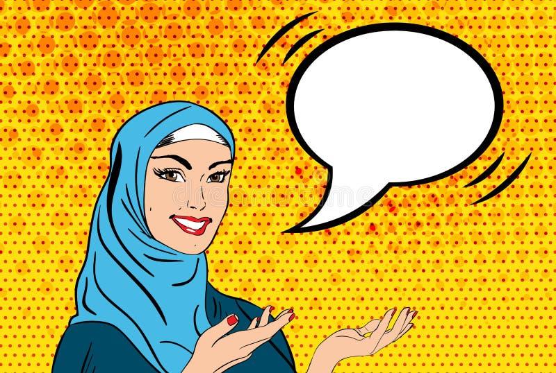 Pop-Arten-Frau im hijab lizenzfreie abbildung