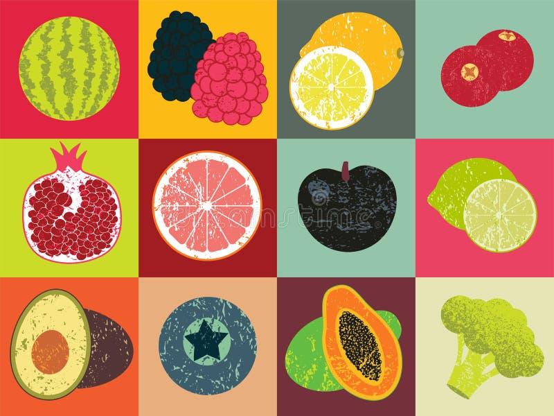 Pop-Arten-Grungeart-Fruchtplakat Sammlung Retro- Früchte Weinlesevektorsatz Früchte stock abbildung