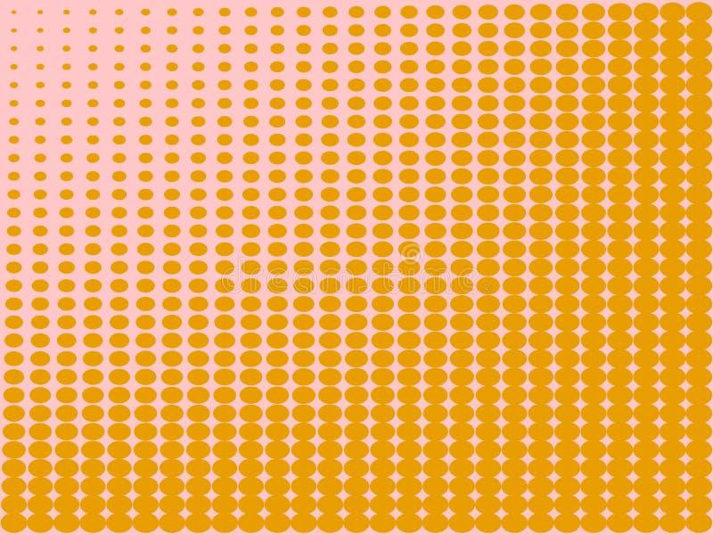 Pop-Arten-Hintergrund, die orange Farbe macht zu Rosa Kreise, B?lle von verschiedenen Formen raster lizenzfreie abbildung