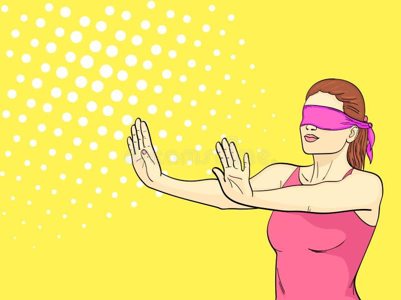 Pop-Arten-Hintergrund ist orange Ein Retro- junges Mädchen spielt Verstecken, ihre Augen werden gebunden, die ausgestreckten Arme vektor abbildung