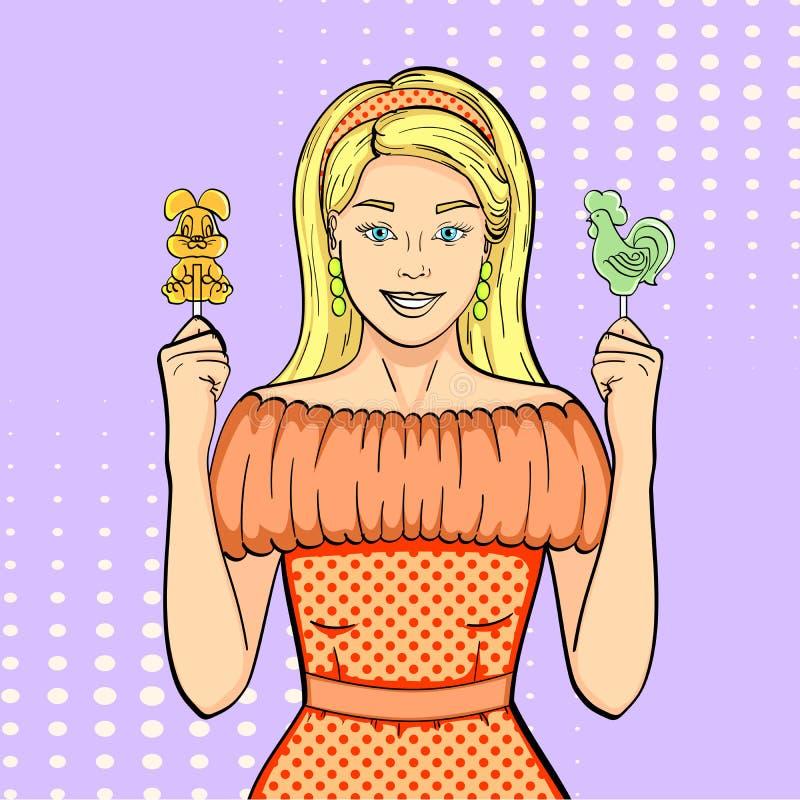 Pop-Arten-Hintergrund, Nachahmung von Comics Das M?dchen h?lt Lutscher, Bonbons und S??igkeiten Form des Hahnes und der Hasen stock abbildung