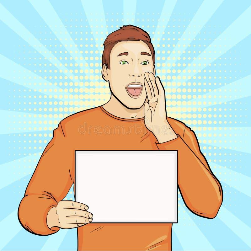Pop-Arten-Hintergrund, Nachahmung von Comics Der Kerl mit einem leeren Blatt Papier Rufe, bittet, Werbung raster lizenzfreie abbildung