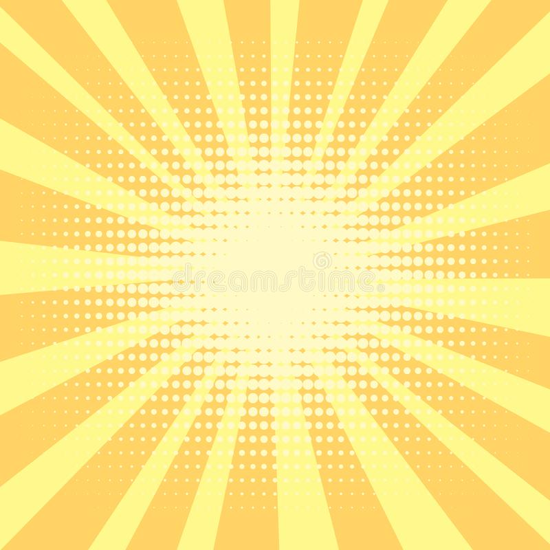 Pop-Arten-Hintergrund, orange Strahlen der Sonne sind gelb und Kreise Retrostil, komische Emulation Beschaffung für a lizenzfreie abbildung