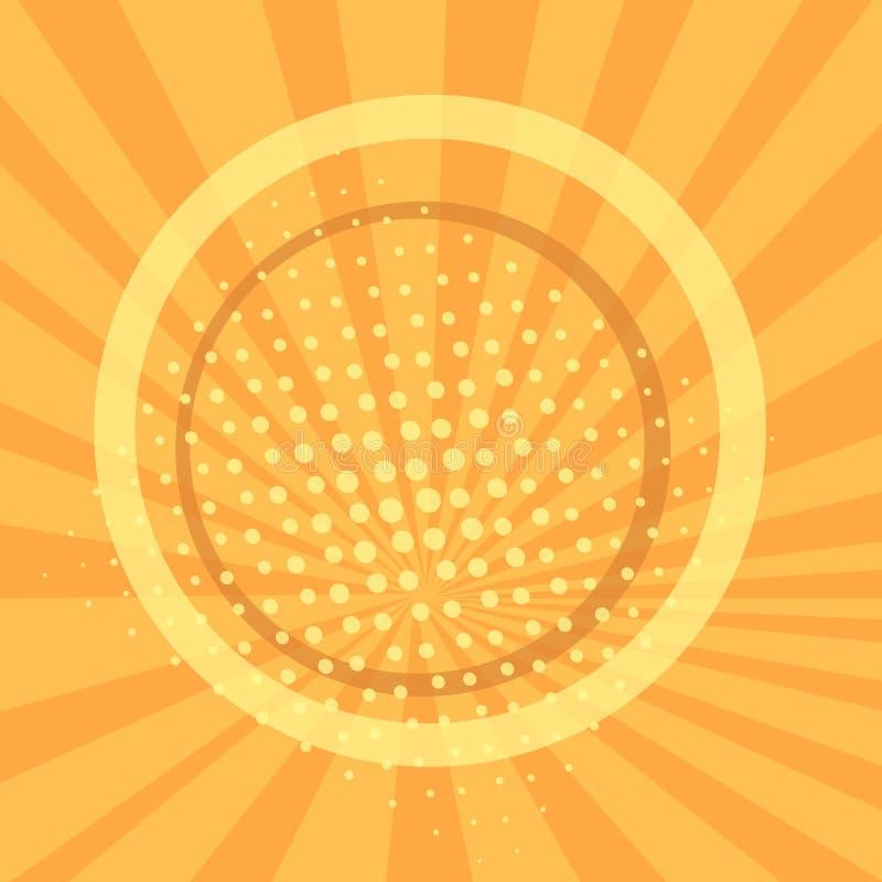 Pop-Arten-Hintergrund, orange Strahlen der Sonne sind gelb und Kreise Retrostil, komische Emulation Beschaffung f?r a stock abbildung