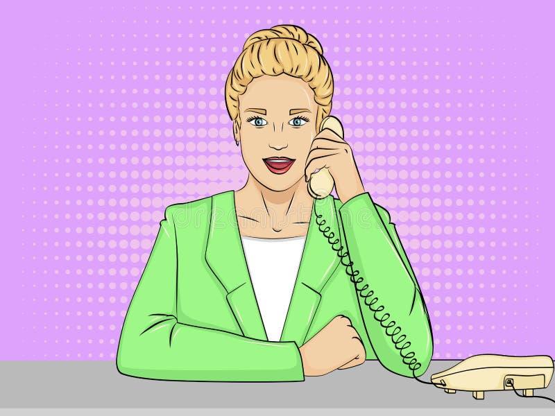 Pop-Arten-Hintergrund, Retro- komische Art Frauensekretär auf dem Desktop Vektor vektor abbildung