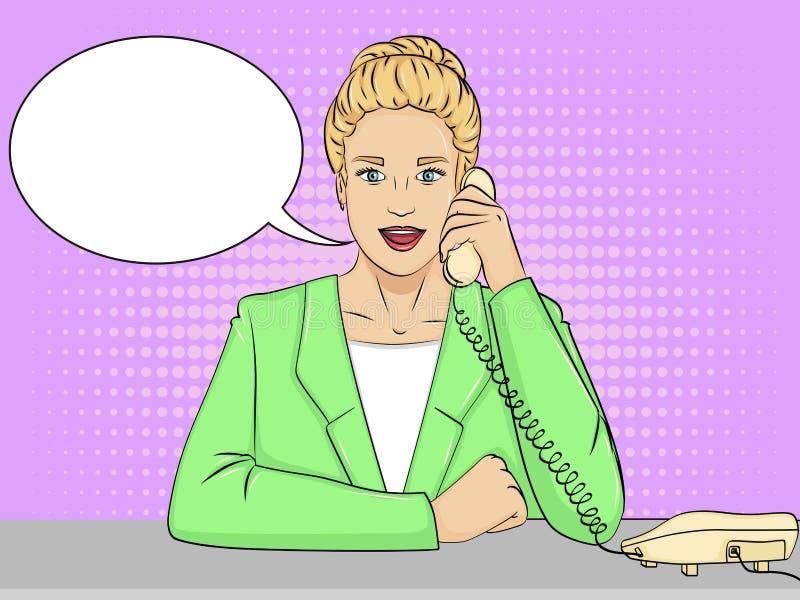 Pop-Arten-Hintergrund, Retro- komische Art Frauensekretär auf dem Desktop Vektortextblase stock abbildung