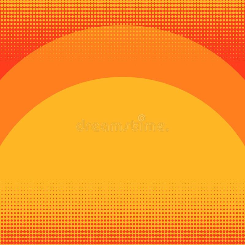 Pop-Arten-Hintergrundorange in der roten Farbe Sonnenuntergang-, Regenbogen- und Schattenlinien Nachahmung der Comicsart raster stock abbildung