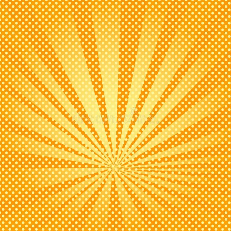 Pop-Arten-Hintergrundstrahlen der Sonne sind orange und gelb lizenzfreie abbildung
