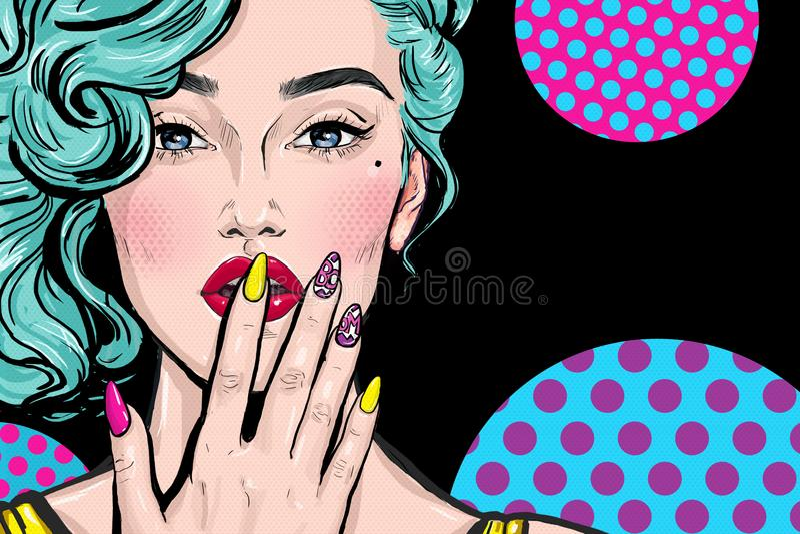 Pop-Arten-Illustration des Mädchens mit der Hand Pop-Arten-Mädchen Komische Frau Reizvolles Mädchen Nägel Lippenstift vektor abbildung