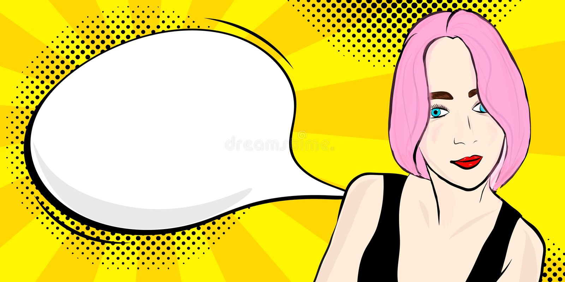 Pop-Arten-Mädchen mit Rede vektor abbildung