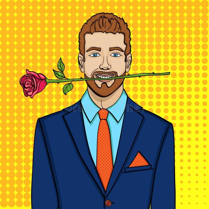 Pop-Arten-Mann, Geschäftsmann mit einer Rose in seinen Zähnen Nachgemachte komische Art, Vektor stock abbildung