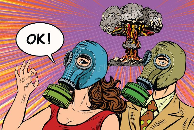 Pop-Arten-Plakatmilitär des Atomkriegs Retro- stock abbildung
