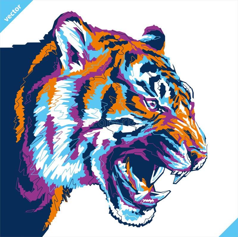Pop-Arten-Porträt des aggressiven Tigers Auch im corel abgehobenen Betrag stock abbildung