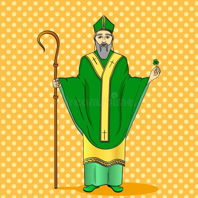 Pop-Arten-Schutzpatron von Irland St Patrick, das ein Klee- und Krummstabpersonal mit Grußband hält vektor abbildung