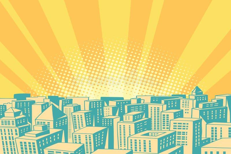 Pop-Arten-Sonnenaufgang über der modernen Stadt vektor abbildung