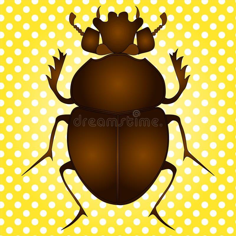Pop-Arten-Vektor Ägyptischer Scarabäuskäfer Brown-Farbe auf Weinlesehintergrund stock abbildung