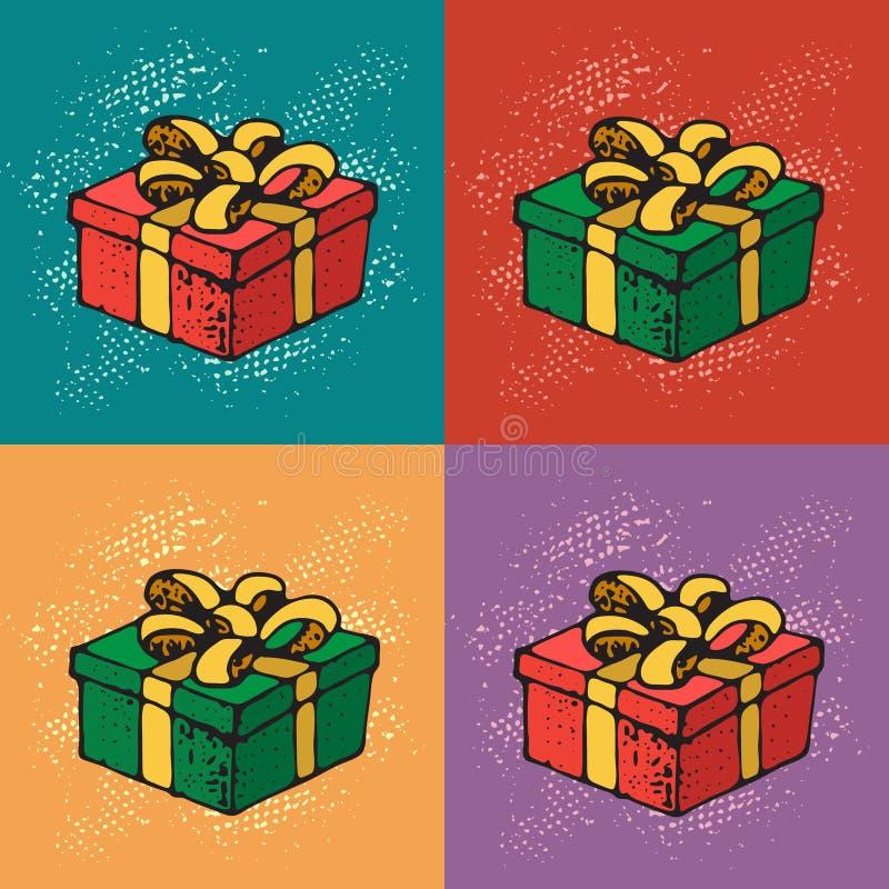 Pop-Arten-Vektor-Illustration von Geschenkboxen mit Band und Bogen Muster für Geburtstags-Feier, Weihnachten, Valentinsgrüße, Par stock abbildung