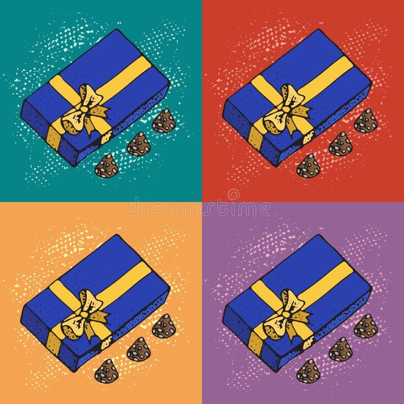 Pop-Arten-Vektor-Illustration von Geschenkboxen mit Schokolade candys auf colorfull Hintergrund Muster für Geburtstags-Feier, Chr lizenzfreie abbildung