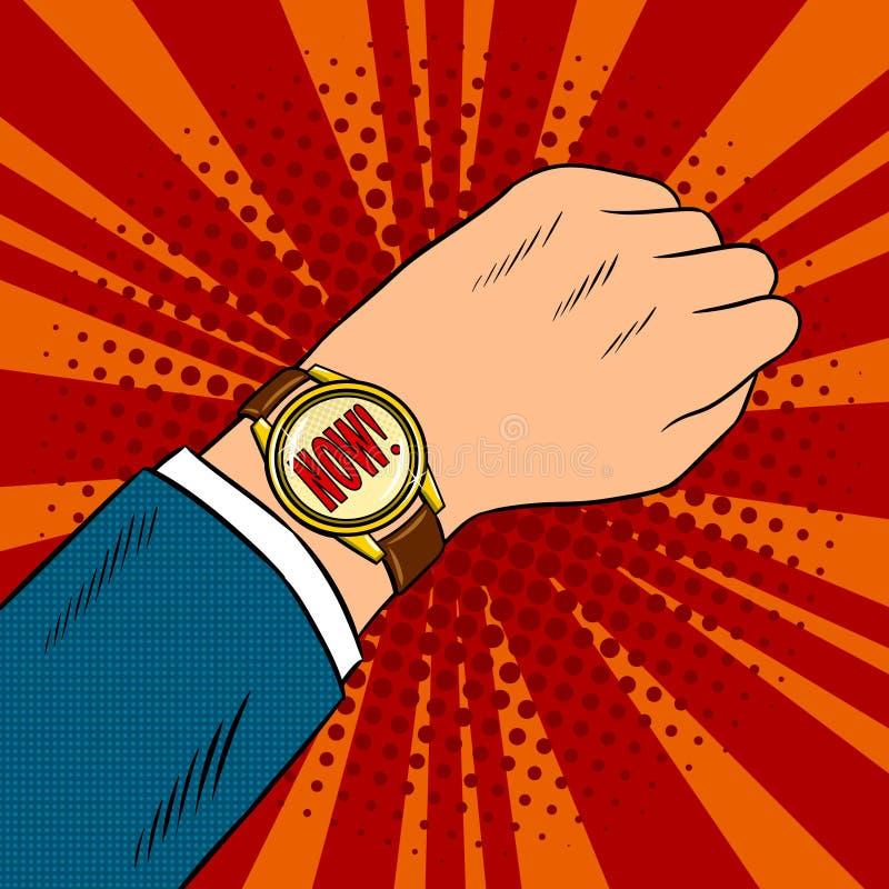 Pop-Arten-Vektorillustration der Armbanduhrshow jetzt lizenzfreie abbildung