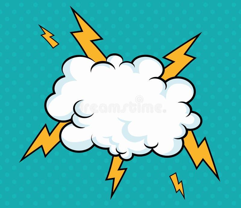 Pop-Arten-Wolke mit Blitzdesign-Blauhintergrund lizenzfreie abbildung