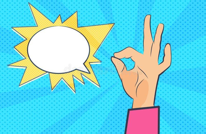 Pop-arthand De Bel van de toespraak stock illustratie