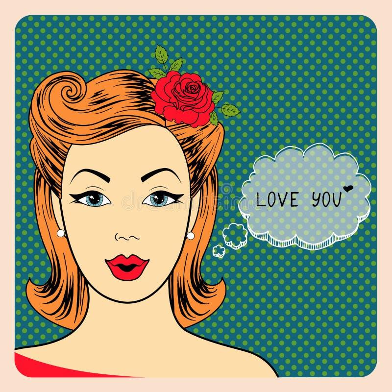 Pop-artillustratie van meisje met de toespraak vector illustratie