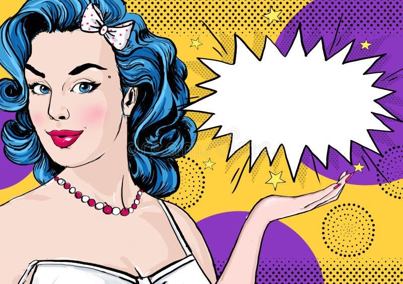 Pop-artillustratie van vrouw met de grappige toespraakbel Pop-artmeisje Het uitstekende etiket van de theetijd De groetkaart van  vector illustratie