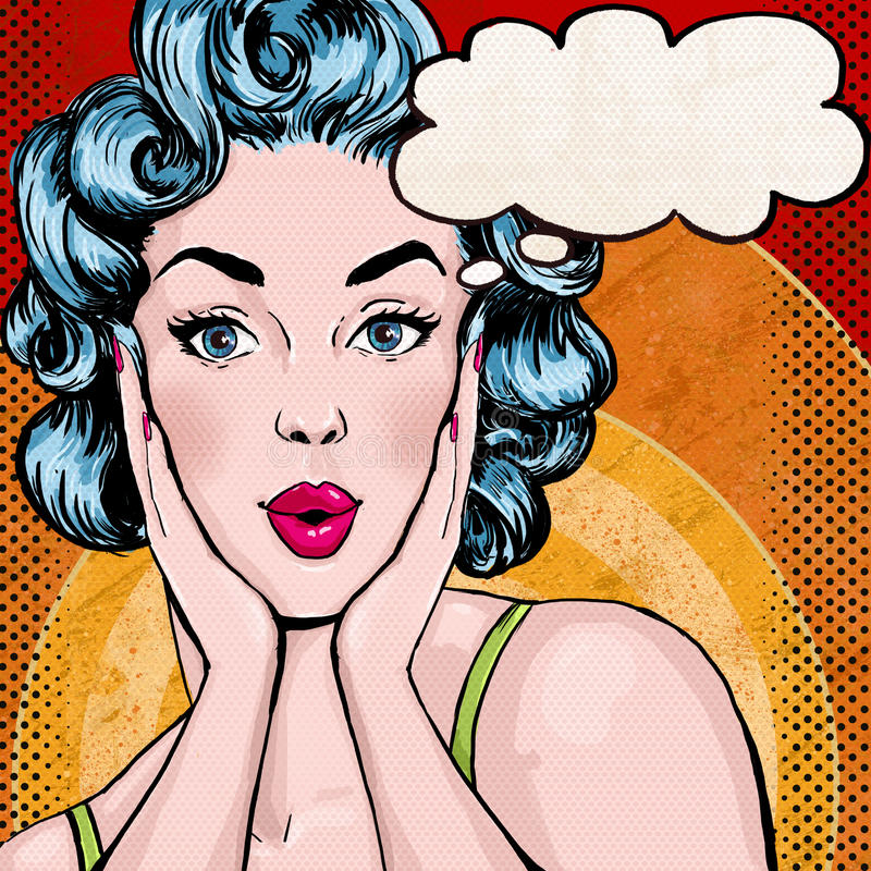 Pop-artillustratie van vrouw met de toespraakbel Pop-artmeisje De groetkaart van de verjaardag stock illustratie