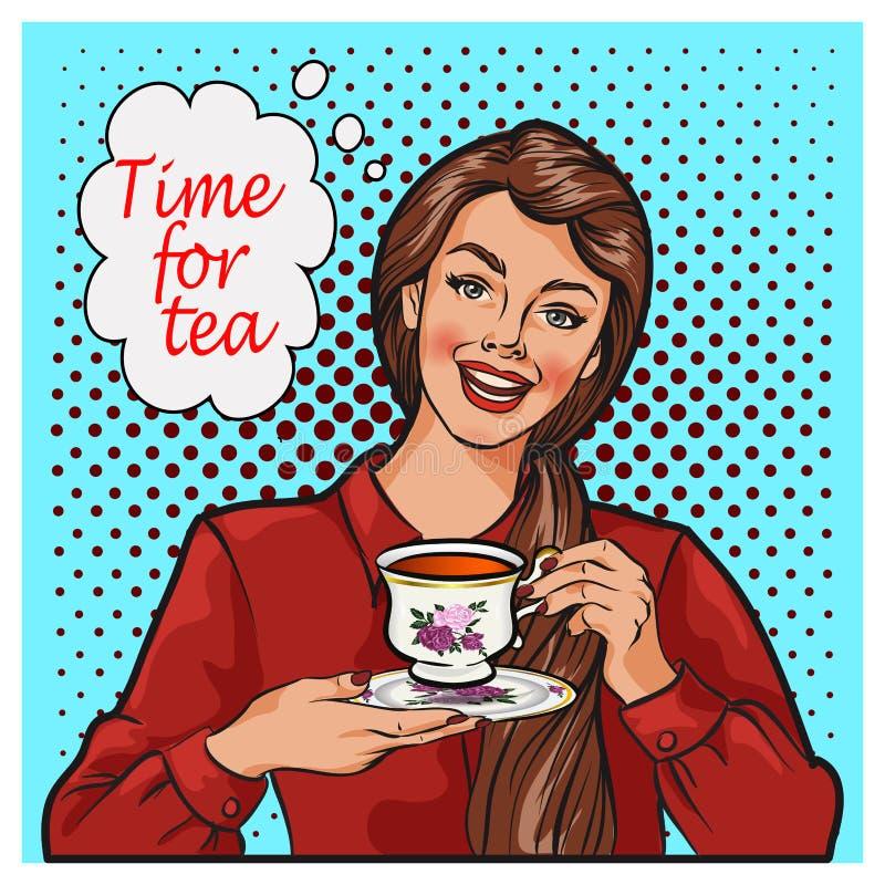Pop-artillustratie van vrouw met ochtendkop thee Speld-op de bel van de meisjestoespraak royalty-vrije illustratie