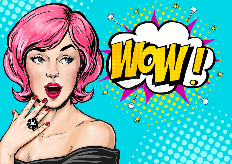 Pop-artillustratie, verrast meisje Grappige vrouw wow Adverterende affiche Pop-artmeisje De groetkaart van de verjaardag Adverter