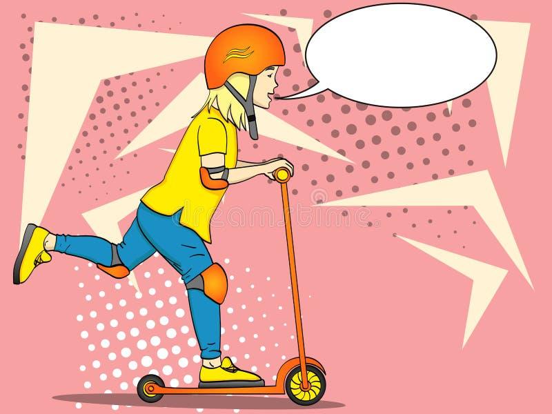 Pop-artkind op een schopautoped, duw In speciale bescherming, helm, elleboog en kniestootkussens Tekstbel stock illustratie