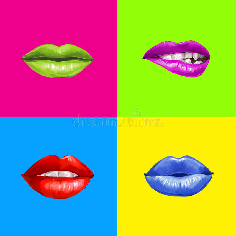 Pop-artlippen Lippenachtergrond Lippenstiftreclame Smileylippen royalty-vrije illustratie