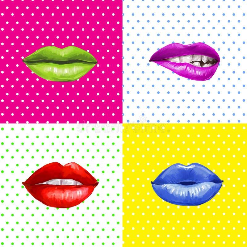 Pop-artlippen Lippenachtergrond Lippenstiftreclame Smileylippen vector illustratie