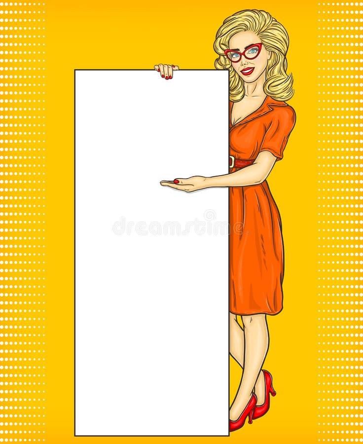 Pop-artmeisje die advertenties tonen vector illustratie
