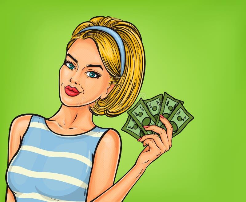 pop-artmeisje met contant geld stock illustratie