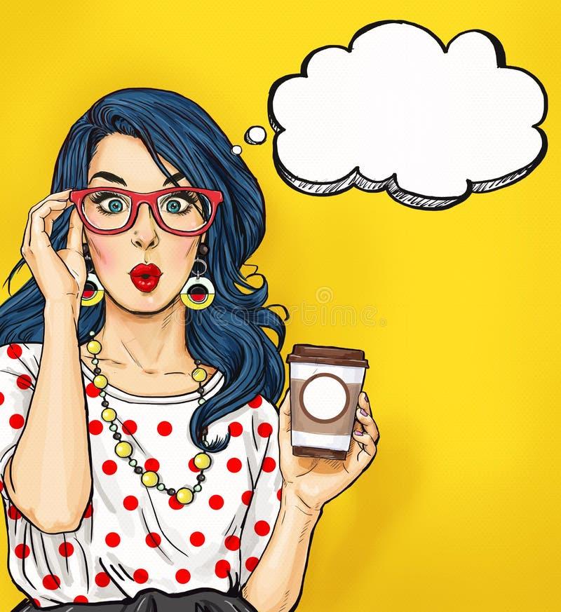 Pop-artmeisje met koffiekop in glazen met gedachte bel Het uitstekende etiket van de theetijd De kaart van de verjaardag Hollywoo royalty-vrije stock foto's