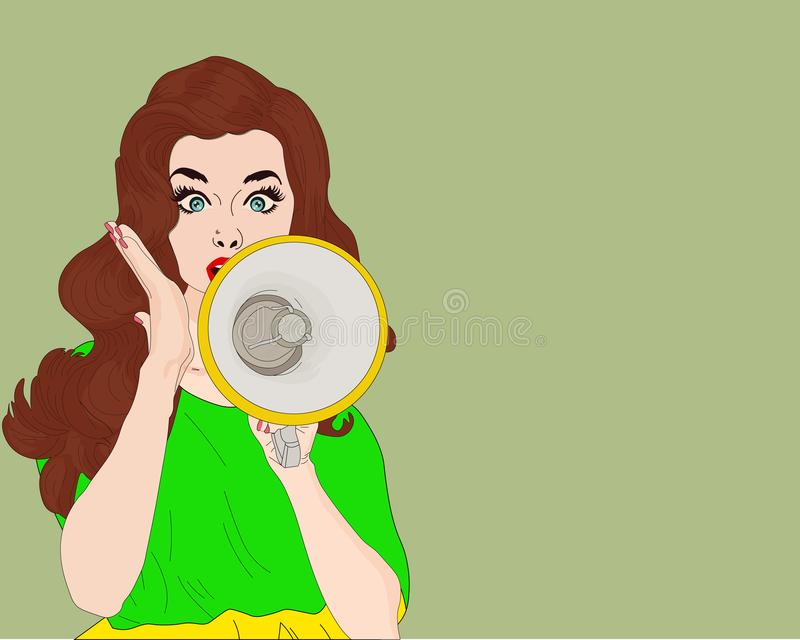 Pop-artmeisje met megafoon Vrouw met luidspreker Meisje die korting of verkoop aankondigen Het winkelen tijd stock illustratie