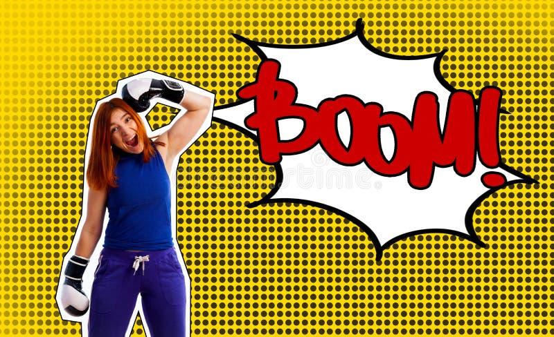 Pop-artportret van een vrouw in bokshandschoenen stock foto
