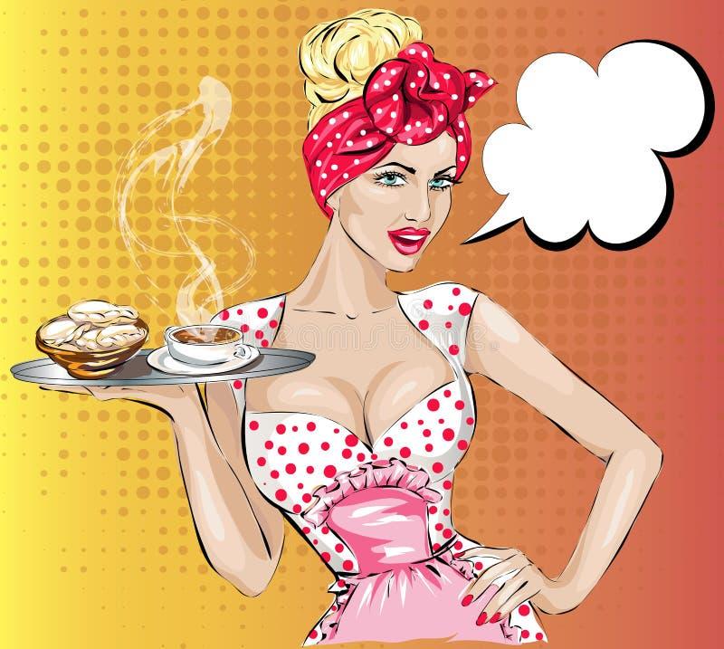 Pop-artvrouw met de toespraakbel van het ontbijt speld-Omhooggaande meisje stock illustratie