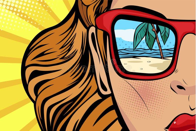 Pop-artvrouw met strand en overzeese bezinning in de zomer Grappig meisjesgezicht voor reiswinkels vector illustratie