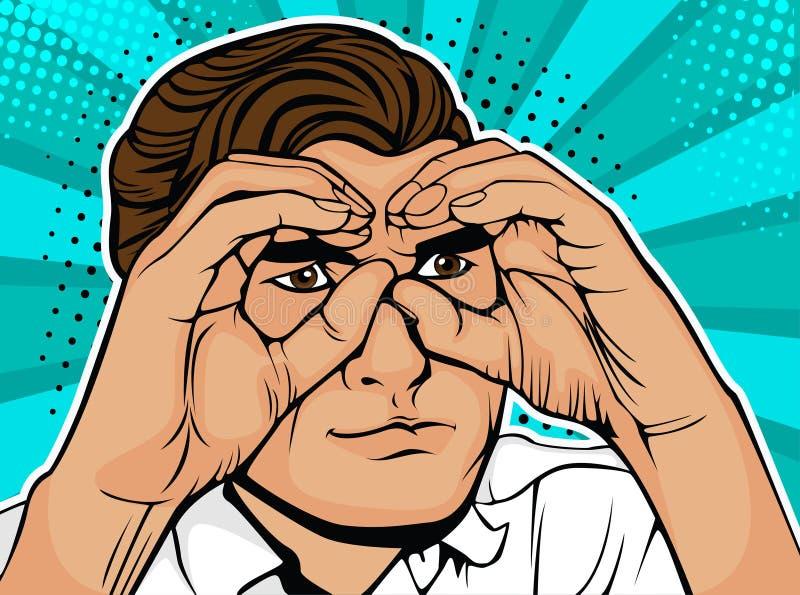 Pop-artzakenman die die door verrekijkers kijken van handen worden gemaakt stock illustratie
