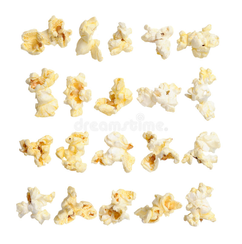 Pop corn collection on white background. Pop corn collection isolated on white background royalty free stock photography