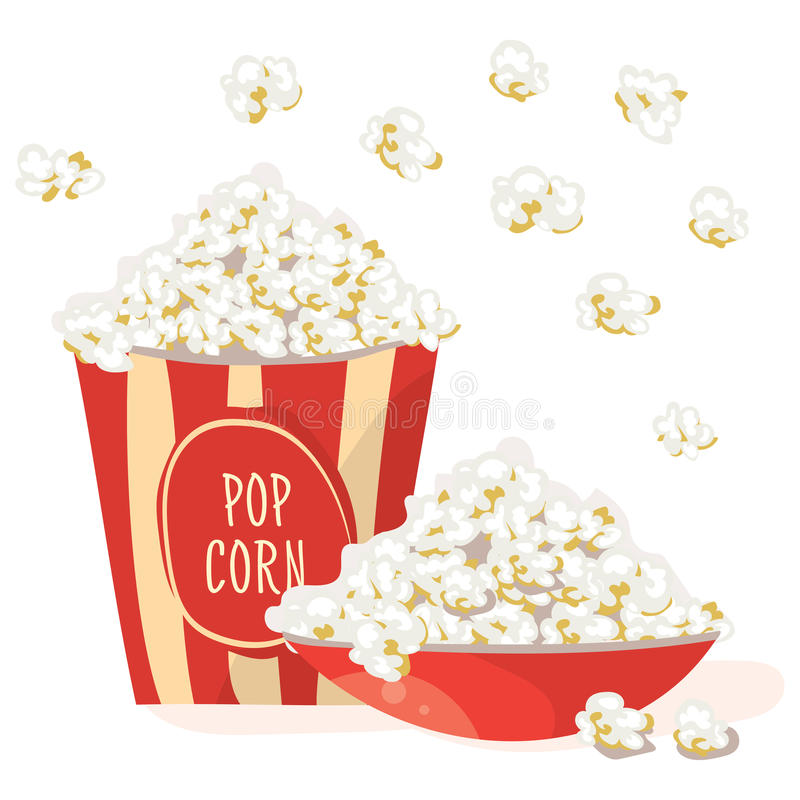 Free Pop Corn In A Red Bowl With Pop Corn In A Red Stripped Pack. Royalty Free Stock Photos - 85344918