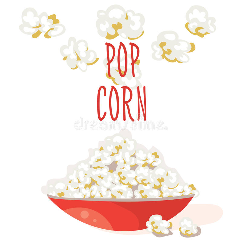 Pop Corn in a red bowl. Flat vector. Popcorn illustration, on white background royalty free illustration