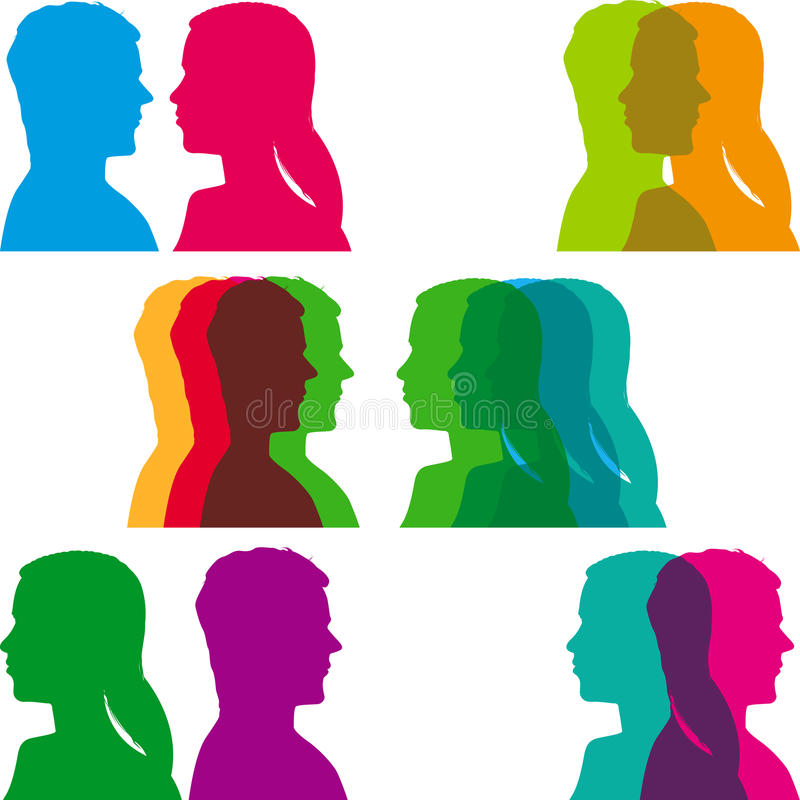 Pop Couple Heads Royalty Free Stock Images