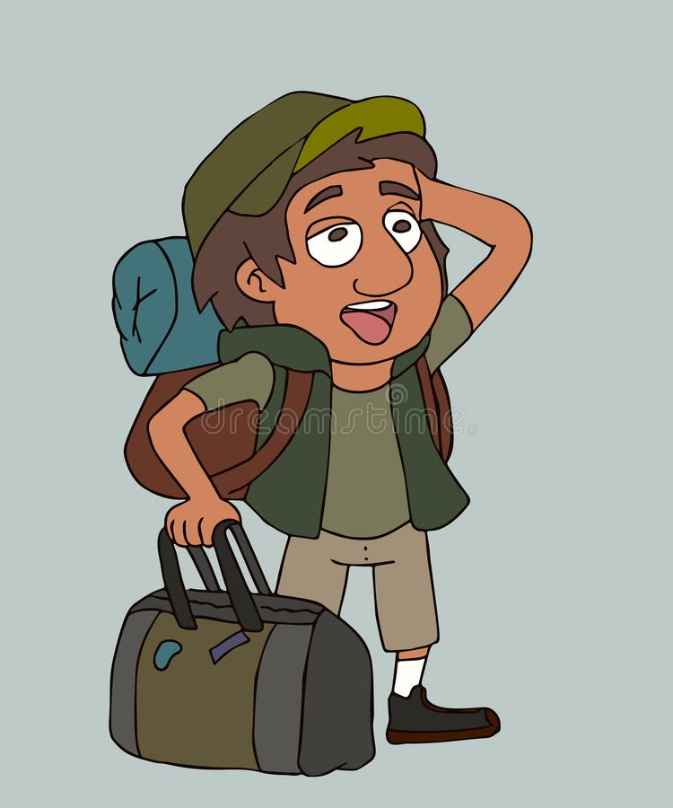 Pop-eyed tourist boy vector cartoon portrait stock illustration