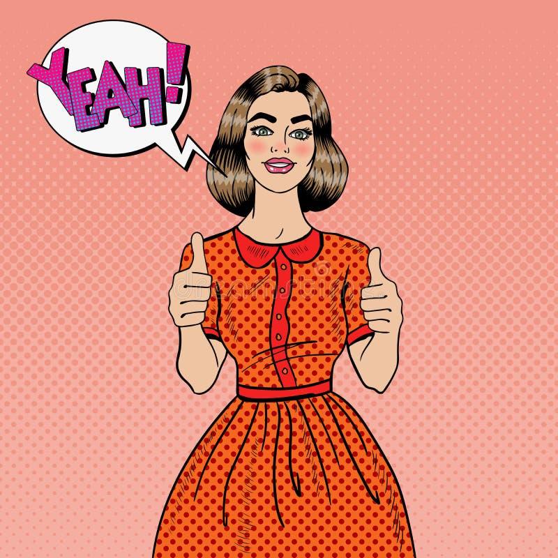 Pop Groot Art Young Beautiful Woman Gesturing Het glimlachen vrouw het tonen beduimelt omhoog stock illustratie