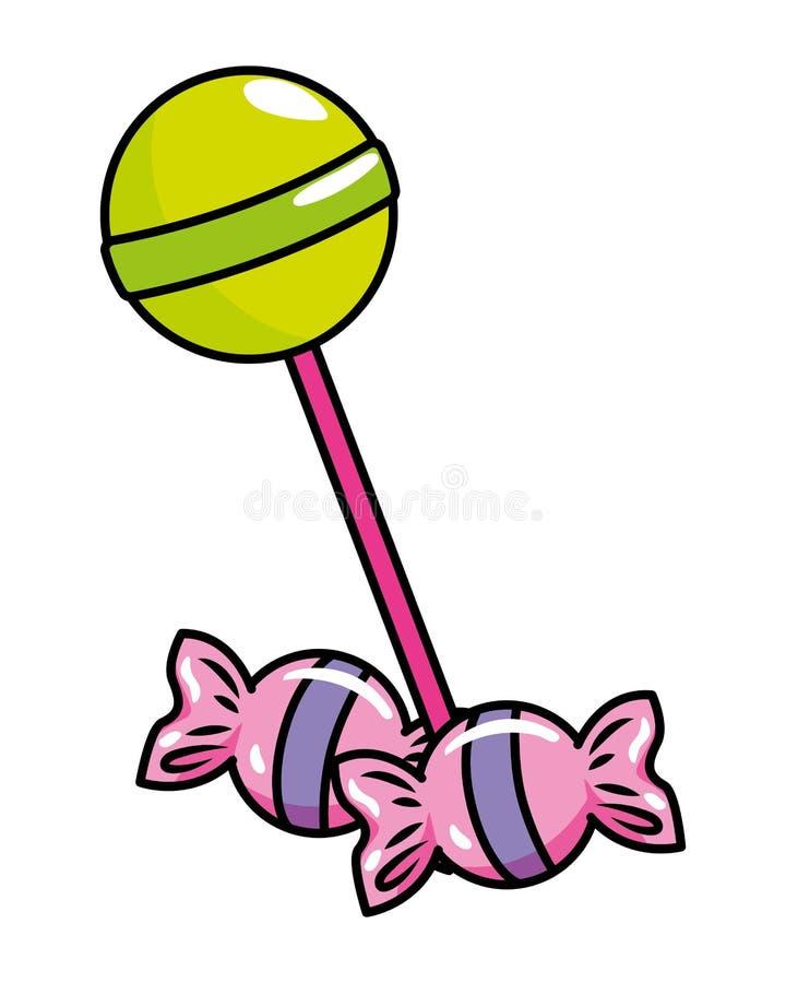 Pop lollie en suikergoed vectorillustratie stock illustratie