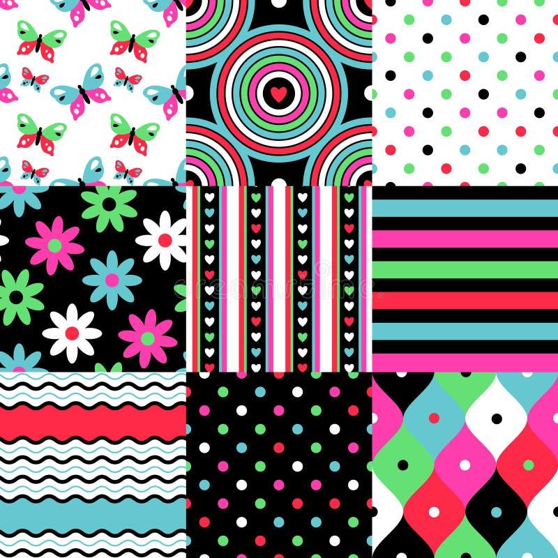 Pop patterns set royalty free illustration