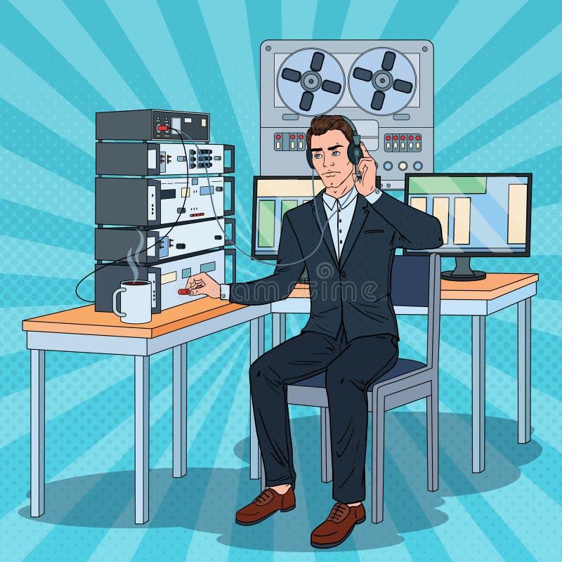 Pop Registreertoestel van Art Man Wiretapping Using Headphones en van de Spoel Mannelijke Detective Working royalty-vrije illustratie